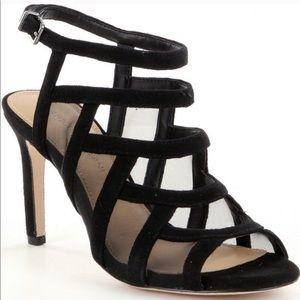 Antonio Melani black strapped heel mesh Valary 9